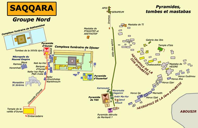 Saqqara: plan général du groupe nord avec les nécropoles de l'époque thinite et de l'Ancien Empire. (Site Egypte antique)