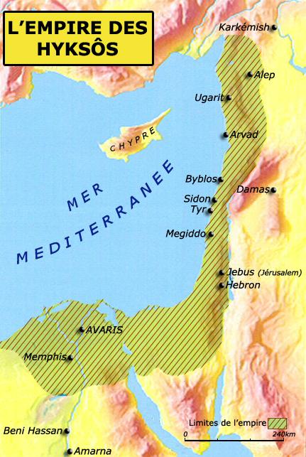 Carte de l'empire des Hyksôs. (Histoire de l'Egypte ancienne)