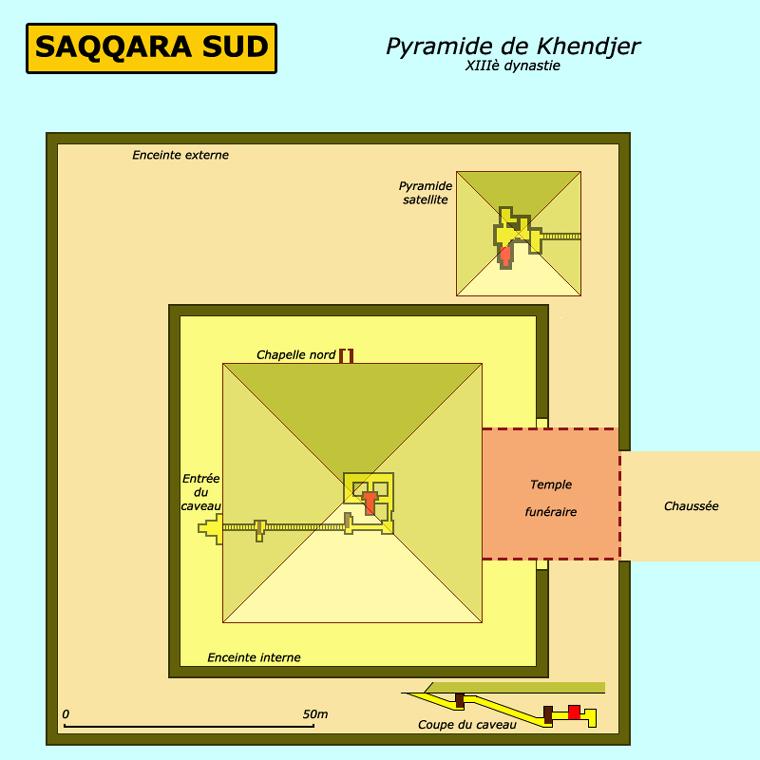 Saqqara: pyramide de Khendjer, roi de la XIIIè dynastie. (Site Egypte antique)