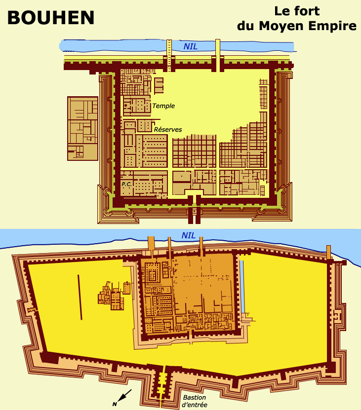 Bouhen : plan du fort du Moyen Empire. (Site Egypte)