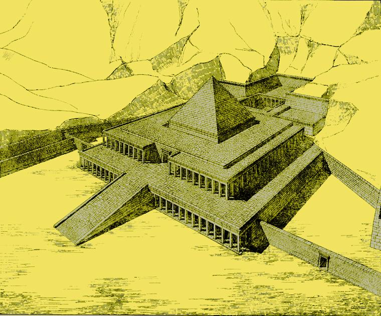 Deir el Bahari: restitution du complexe funéraire de Montouhotep. (Histoire de l'Egypte ancienne)