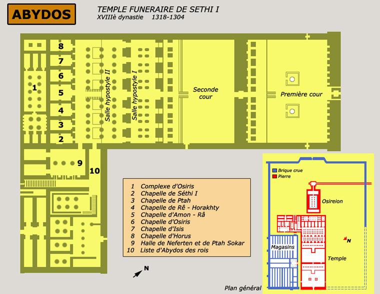 Abydos: plan d'ensemble du temple-cénotaphe de Séthi I. (Site Egypte antique)