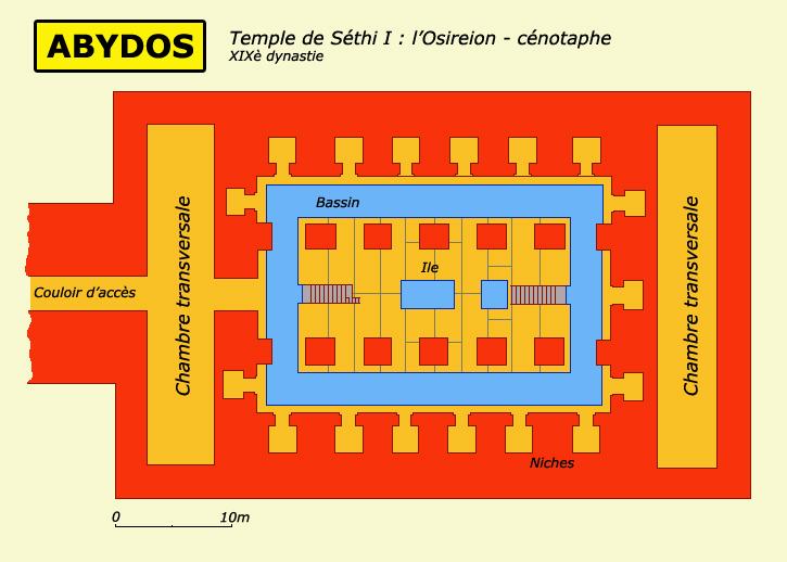 Abydos: l'Osireion des Séthi I: plan. (Site Egypte antique)