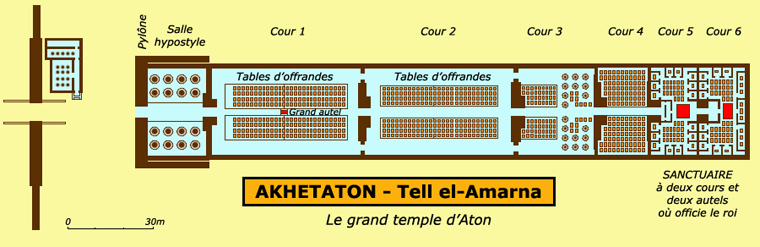 Akethaton – Telle el Amarna : plan du grand temple d'Aton, le Gem-Aton. (Site Egypte antique)