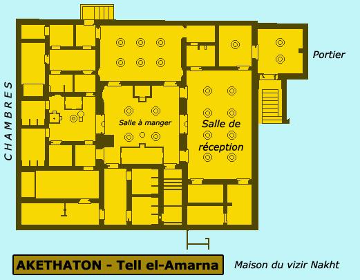 Akethaton – Telle el Amarna: plan de la maison di vizir Nakth. (Site Egypte antique)