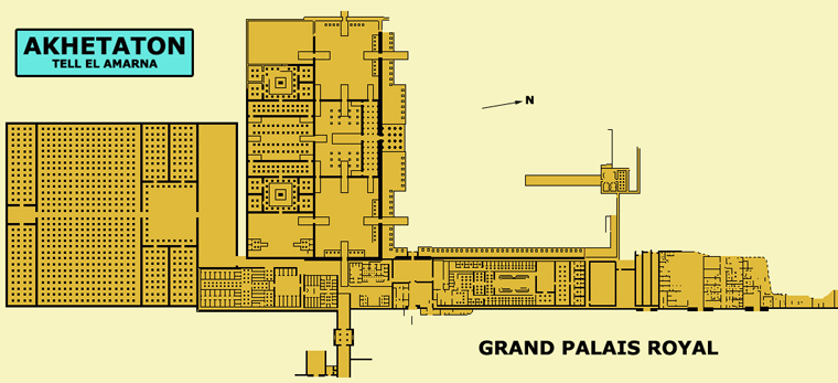 Akethaton – Telle el Amarna : plan du grand palais royal. (Site Egypte antique)