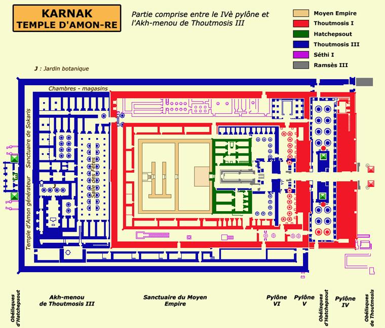 Karnak: le grand temple d'Amon: partie entre le pylône IV et l'Akh-Ménou de Thoutmôsis. (Site Egypte ancienne
