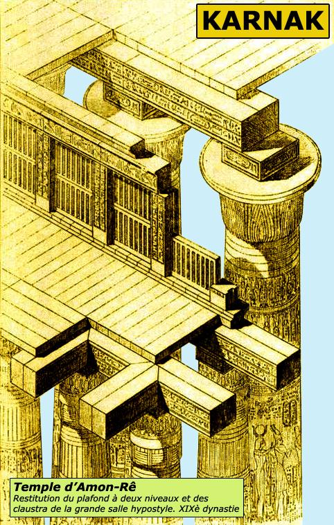 Karnak: le grand temple d'Amon: plafond à claustra de la salle hypostyle, restitution. (Site Egypte ancienne