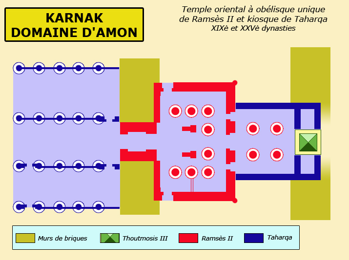 Karnak : le grand temple d'Amon : plan du temple oriental à obélisque unique. (Site Egypte ancienne