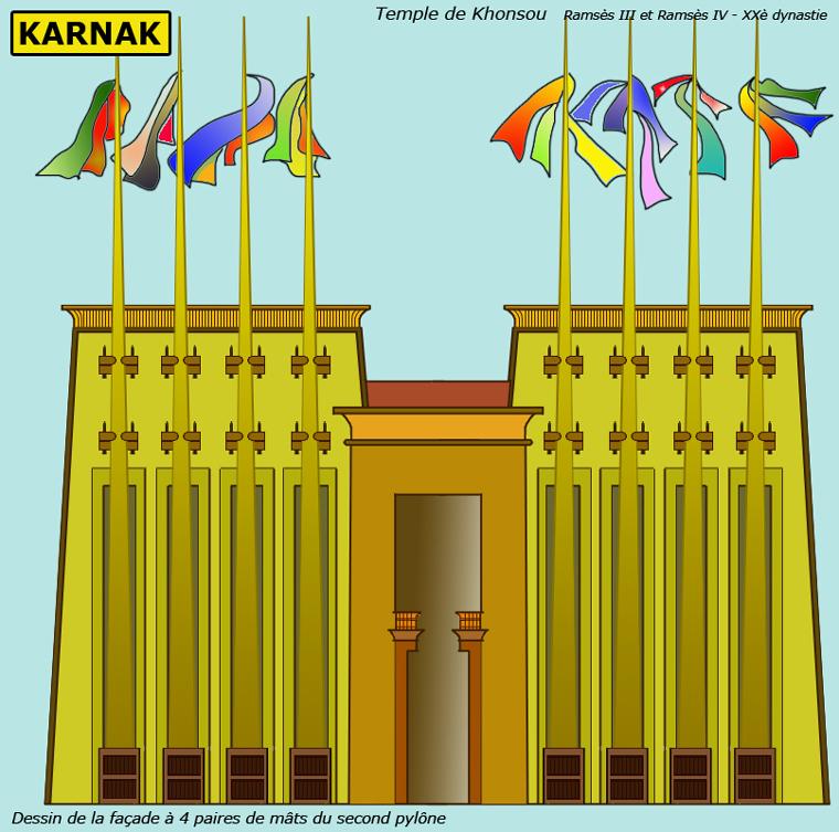 Karnak: le domaine d'Amon Râ: le temple de Khonsou. La façade. (Site Egypte ancienne