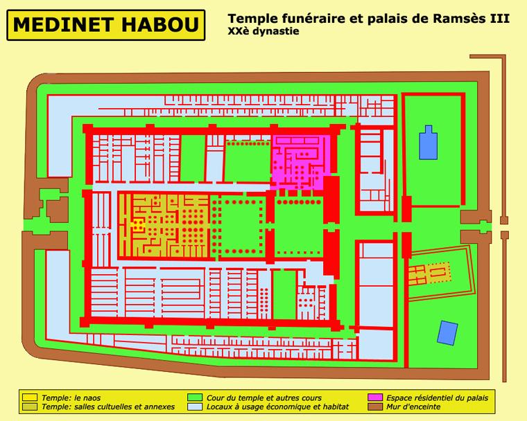 Medinet Habou: plan général du temple et du palais de Ramsès III. (Site Egypte antique)