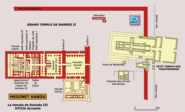 Medinet Habou: plan général du temple de Ramsès III. (Site Egypte antique)