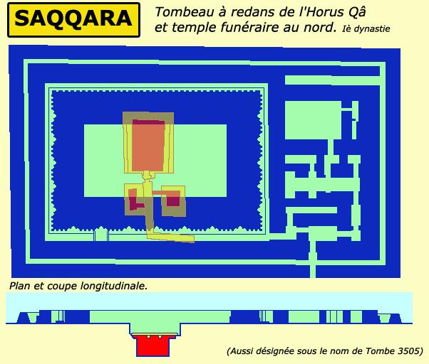 Saqqara: tombe à redans et temple funéraire de l'Horus Qâ. Plan et coupe. Ière dynastie. (Site Egypte antique)