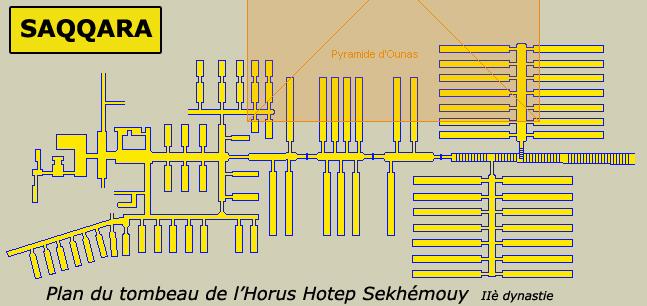 Saqqara: tombeau de l'Horus Hotepsekhémoui creusé aux abords de la pyramide d'Ounas. IIè dynastie.  (Site Egypte antique)