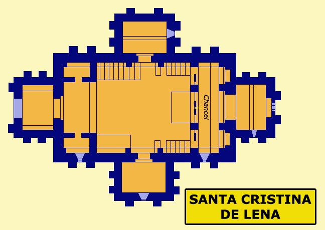 Santa Cristina de Lena: l'église. Plan. Vers 845
