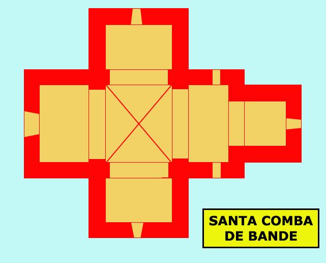 Santa Comba de Bande, province d'Orense: l'église wisigothe. Plan