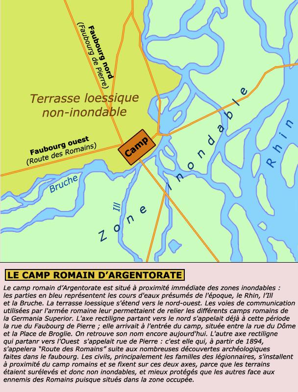 Situation générale du camp romain d'Argentorate