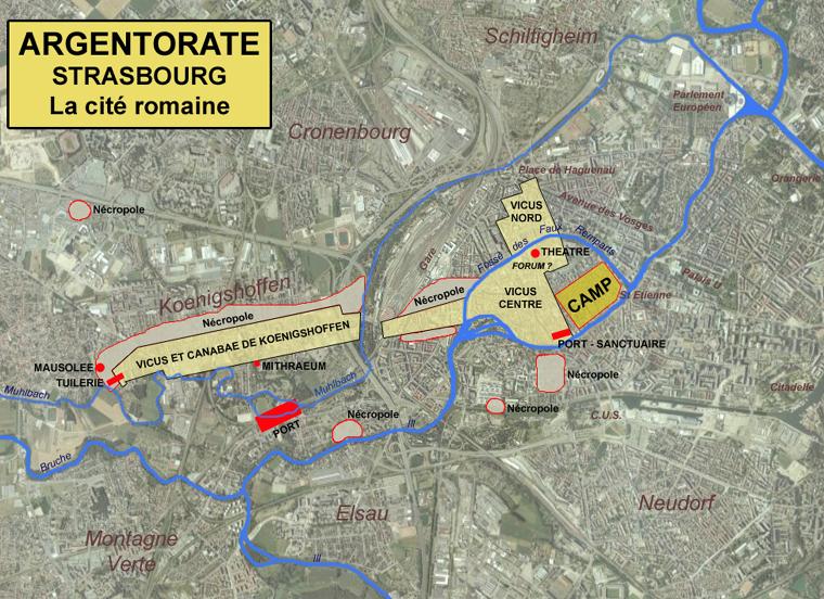 Argentorate: plan général du camp militaire et des diverses zones d'occupation (vicus et canabae) en l'état actuel des fouilles et découvertes