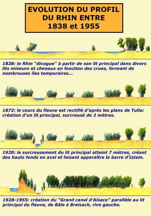 Schéma de l'évolution des rectifications du Rhin et de la naissance du «Petit Rhin»