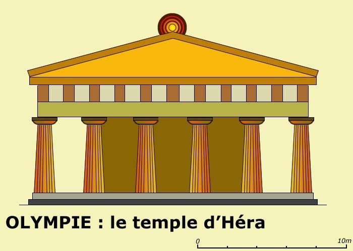 Olympie: le temple d'Héra ou Héraion. La façade. (Art grec)
