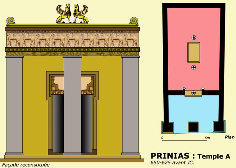 Prinias, Crète. Plan et façade du temple A. (Art grec)