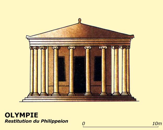 Olympie: restitution du Philippeion. Fin de l'époque classique. (Art grec)