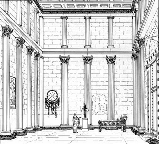 Tégée: reconstitution de l'intérieur du temple d'Athéna Aléa. (Art grec)
