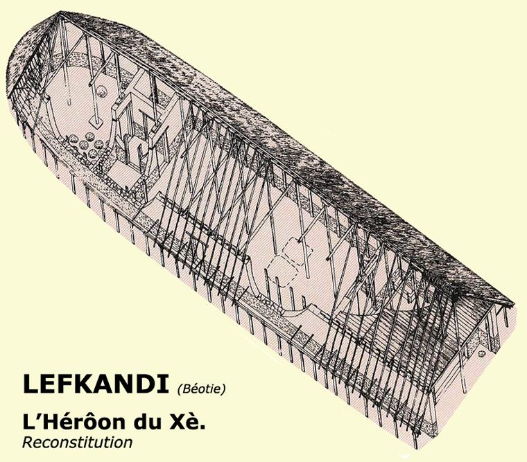 Lefkandi en Béotie: le Héroôn: restitution. Xè siècle avant JC. (Art grec)