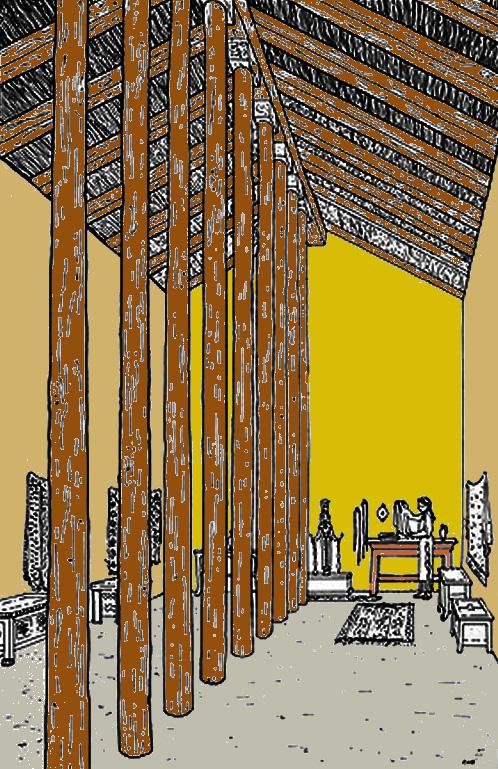 Samos: l'Hécatompédon I ou Héraion I, vers 780 avant JC. 6,5 x 32,86 m. Brique crue et colonnade de bois. (Art grec)