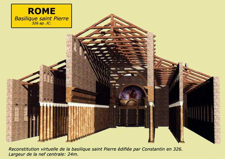 Rome: la basilique paléochrétienne saint Pierre édifiées sous Constantin vers 326. Restitution en coupe