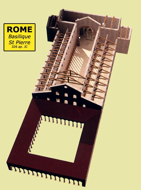 Rome: la basilique paléochrétienne saint Pierre édifiées sous Constantin vers 326. Restitution