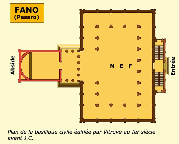Fano (Pesaro): plan de la basilique civile édifiée par Vitruve, Ier siècle avant JC