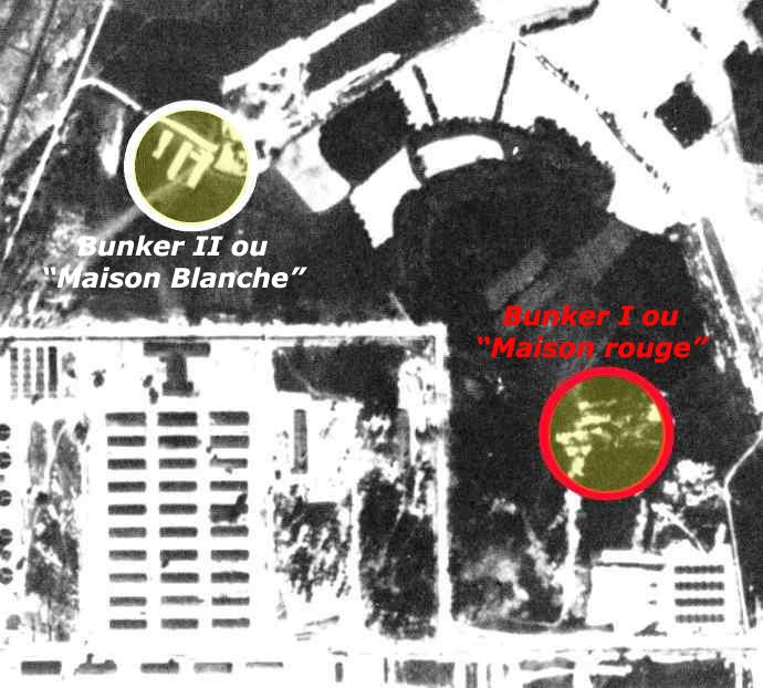 Auschwitz I: situation des Bunker I et II, les premières chambres à gaz (anciennes fermes transformées), expérimentales, avant que l'industrie de la mort ne s'empare du processus