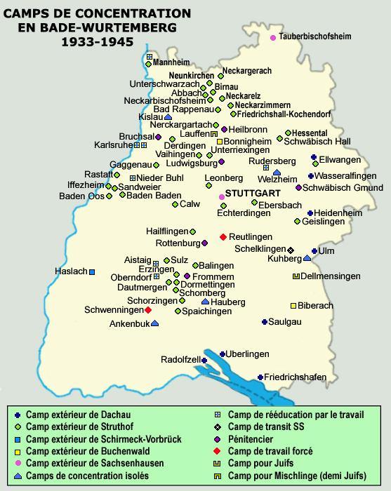 Carte des centres d'euthanasie dans le Reich et de leurs dépendances