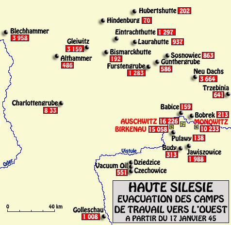 Auschwitz: carte de l'évacuation de la zone d'Auschwitz en janvier 1945