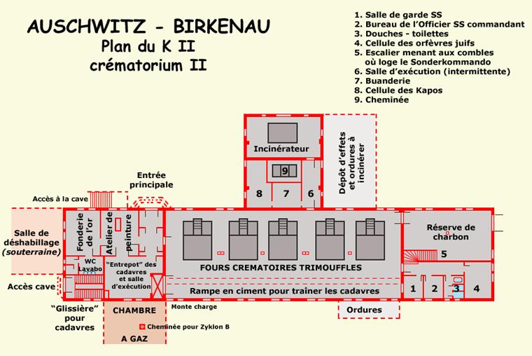 Auschwitz Birkenau: Plan du KII ou KrématoriumII