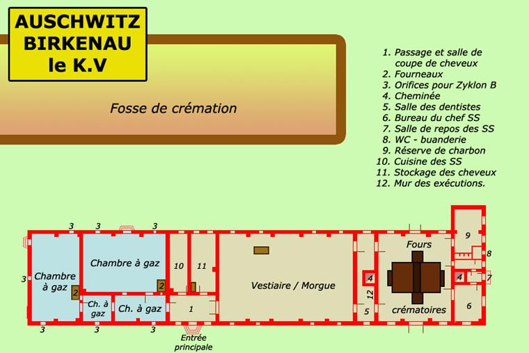 Auschwitz Birkenau: Plan du KV ou KrématoriumV