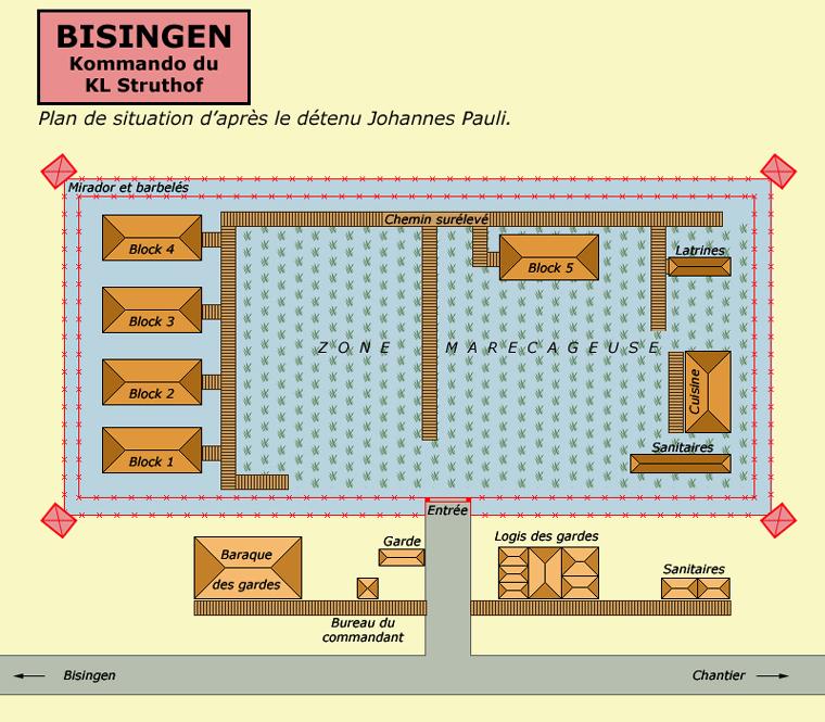 Plan du camp de Bisingen, en Bade-Wurtemberg