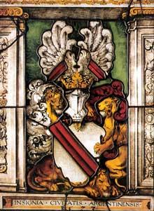 Strasbourg: vitrail aux armes de la ville en 1532, attribué à Hans Baldung Grien