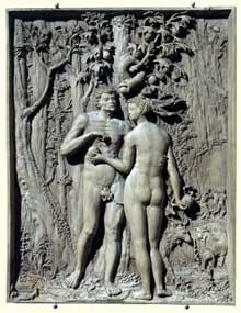 Maître I.P. (actif entre 1520 et 1540): la faute originelle. Gravure sur panneau de poirier, 1521, 16 x 12,5 cm. Vienne, le Belvédère