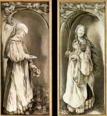 Le retable de Heller. Sainte Elisabeth et saint Lucie (?). 1509-1511. Grisaille sur chêne, 98 x 43cm. Donaueschingen Gemaldegalerie