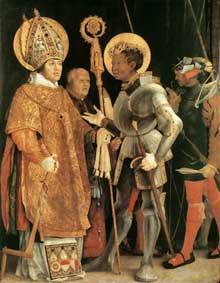 Saint Erasme et saint Maurice. 1517-1523. Huile sur bois, 226 x 176 cm. Munich, Alte Pinakothek