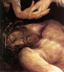 Le Christ mort. Détail. Avant 1523. Huile sur panneau de pin, 36 x 136 cm. Aschaffenbourg, collégiale