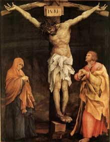 Retable de Tauberbischoffsheim. Crucifixion. 1523-1524. Huile sur bois, 193 x 152,5 cm. Karlsruhe, Kunsthalle