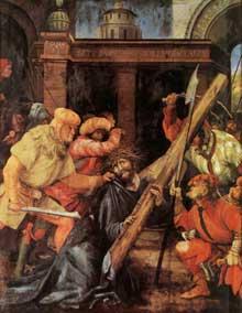 Retable de Tauberbischoffsheim. Le portement de la croix. 1523-1524. Huile sur bois, 193 x 152,5 cm. Karlsruhe, Kunsthalle