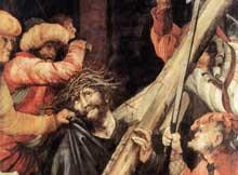 Retable de Tauberbischoffsheim. Le portement de la croix. Détail. 1523-1524. Huile sur bois, 193 x 152,5 cm. Karlsruhe, Kunsthalle