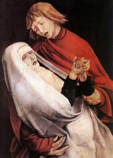 Retable d'Issenheim. Polyptyque fermé. La Crucifixion: détail: saint Jean et Marie. Vers 1515. Huile sur bois. Colmar, Musée Unterlinden