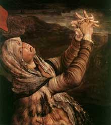 Retable d'Issenheim. Polyptyque fermé. La Crucifixion: détail: sainte Marie Madeleine. Vers 1515. Huile sur bois. Colmar, Musée Unterlinden