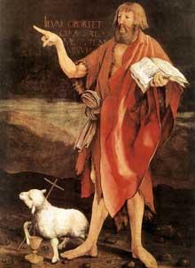 Retable d'Issenheim. Polyptyque fermé. La Crucifixion: détail: saint Jean Baptiste et l'agneau. Vers 1515. Huile sur bois. Colmar, Musée Unterlinden