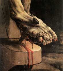 Retable d'Issenheim. Polyptyque fermé. La Crucifixion: détail: les pieds du crucifié. Vers 1515. Huile sur bois. Colmar, Musée Unterlinden